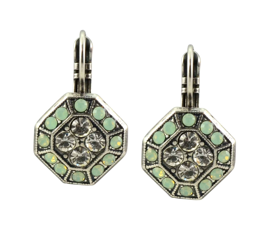 Mariana Jewelry Summer Palace Silver Plated Swarovski Crystal Octagon Dangle Earrings