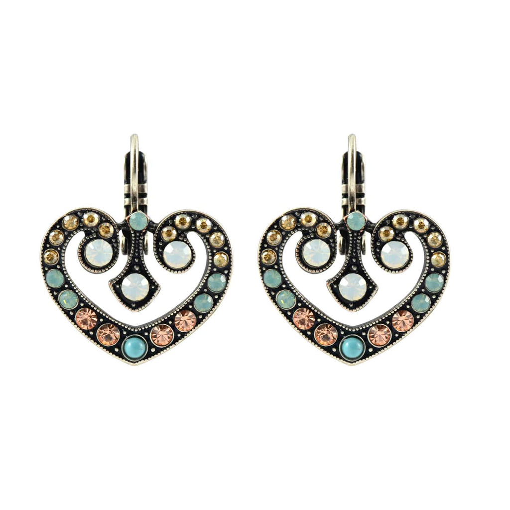 Mariana Jewelry Summer Palace Silver Plated Swarovski Crystal Twirl Heart Drop Earrings