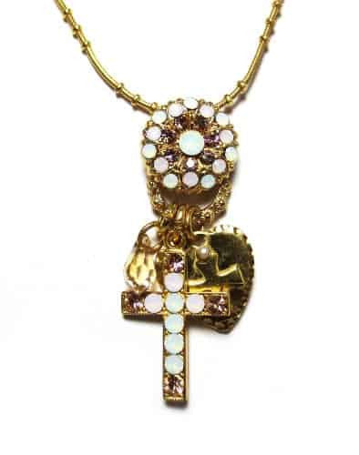 Mariana Jewelry Tiara Day Gold Plated Swarovski Crystal Cross, Heart and Flower Charm Pendant Necklace, 20+4