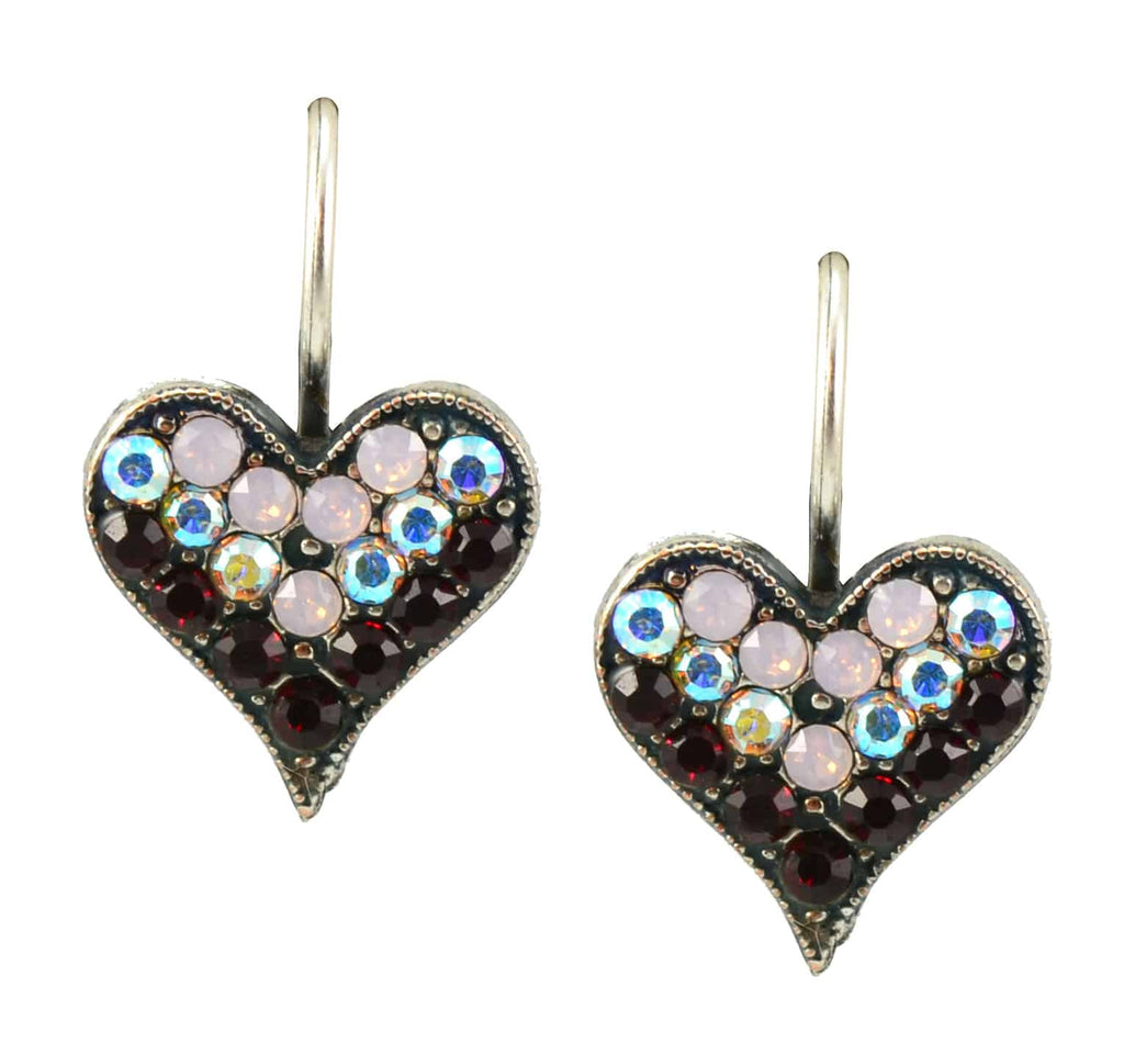Mariana Jewelry True Romance Silver Plated Swarovski Crystal Heart Drop Earrings