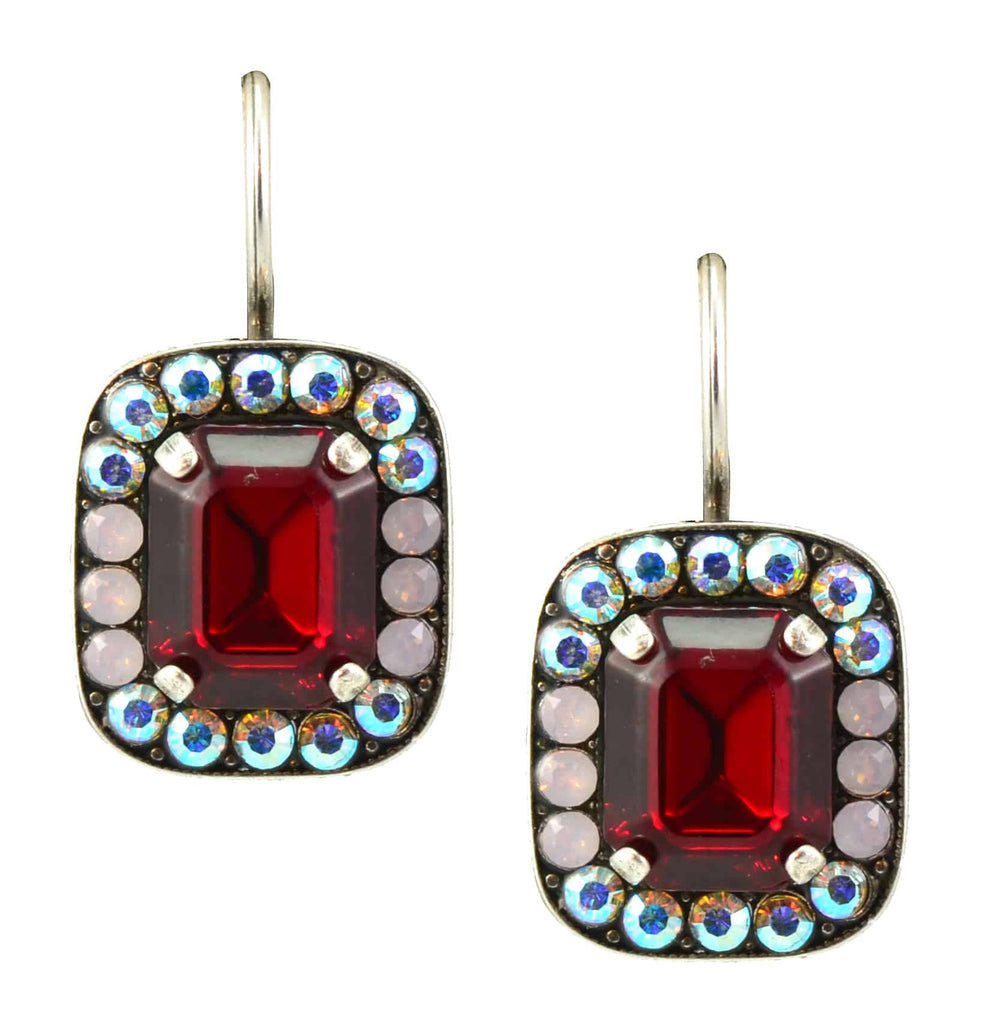 Mariana True Romance Silver Plated Swarovski Crystal Rectangle Drop Earrings