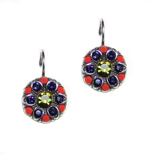 Mariana Jewelry Twist and Shout Silver Plated Round Flower Swarovski Crystal Drop Earrings