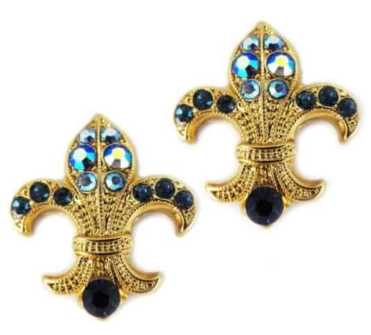 Mariana Jewelry Yellow Gold Plated Fleur de Lis Swarovski Crystal Earrings