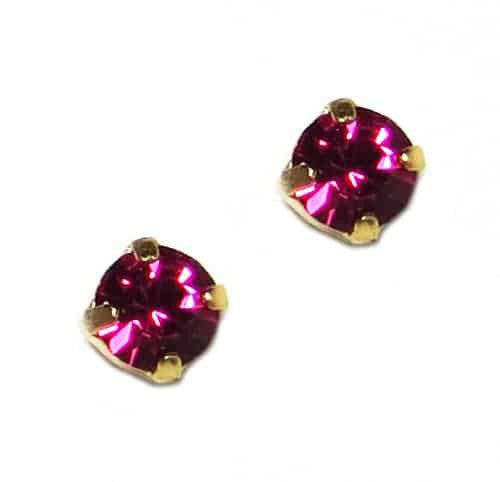 Mariana Yellow Gold Plated Petite Round Swarovski Crystal Post Earrings in Fuchsia