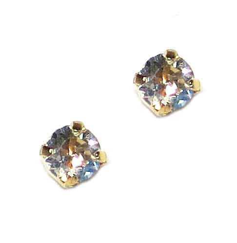 Mariana Jewelry Yellow Gold Plated Petite Round Swarovski Crystal Post Earrings in Crystal Moonlight