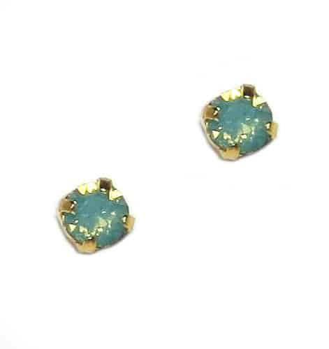 Mariana Yellow Gold Plated Petite Round Swarovski Crystal Post Earrings in Pacific Opaque