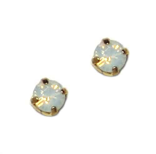 Mariana Yellow Gold Plated Petite Round Swarovski Crystal Post Earrings in White Opaque