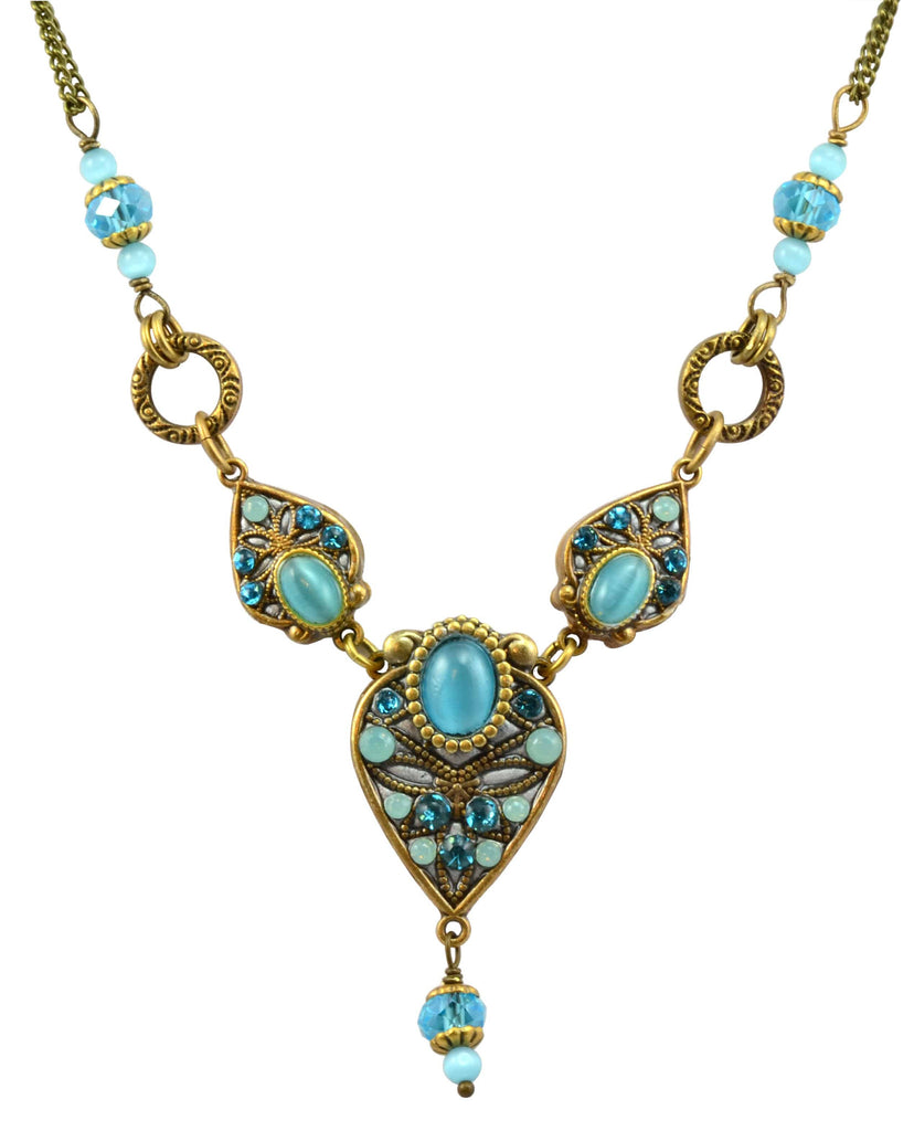Michal Golan Atlantis Gold Plated Geometric 3 Teardrop Beaded Necklace on Brass Double Chain