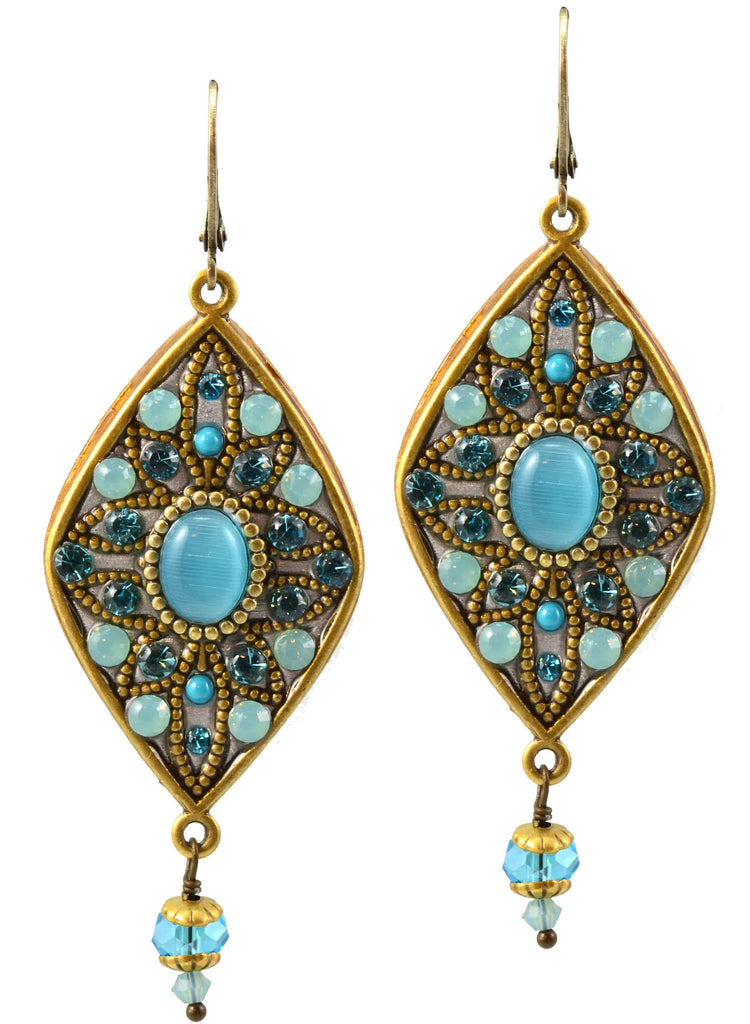 Michal Golan Atlantis Gold Plated Large Diamond Drop Earrings with Dangle