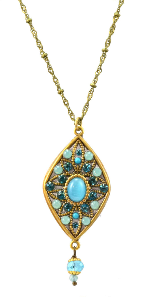 Michal Golan Atlantis Gold Plated Large Diamond Pendant Necklace on Long Brass Chain