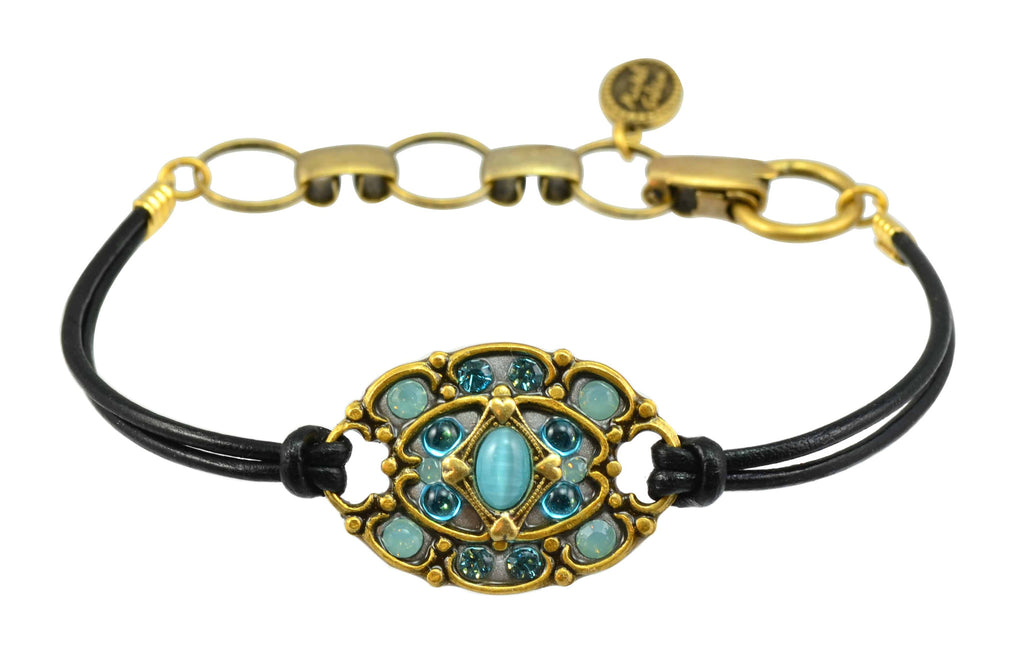 Michal Golan Atlantis Gold Plated Medium Oval Bracelet on Black Leather Cord