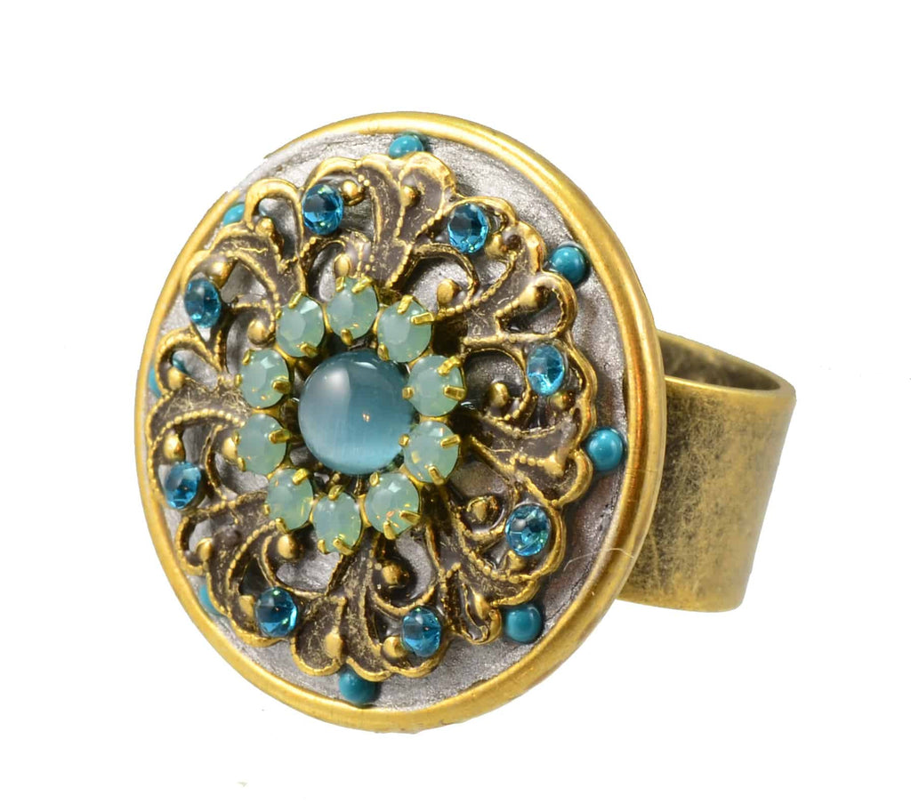 Michal Golan Atlantis Gold Plated Round Circle Ring in Blue and Green Crystal