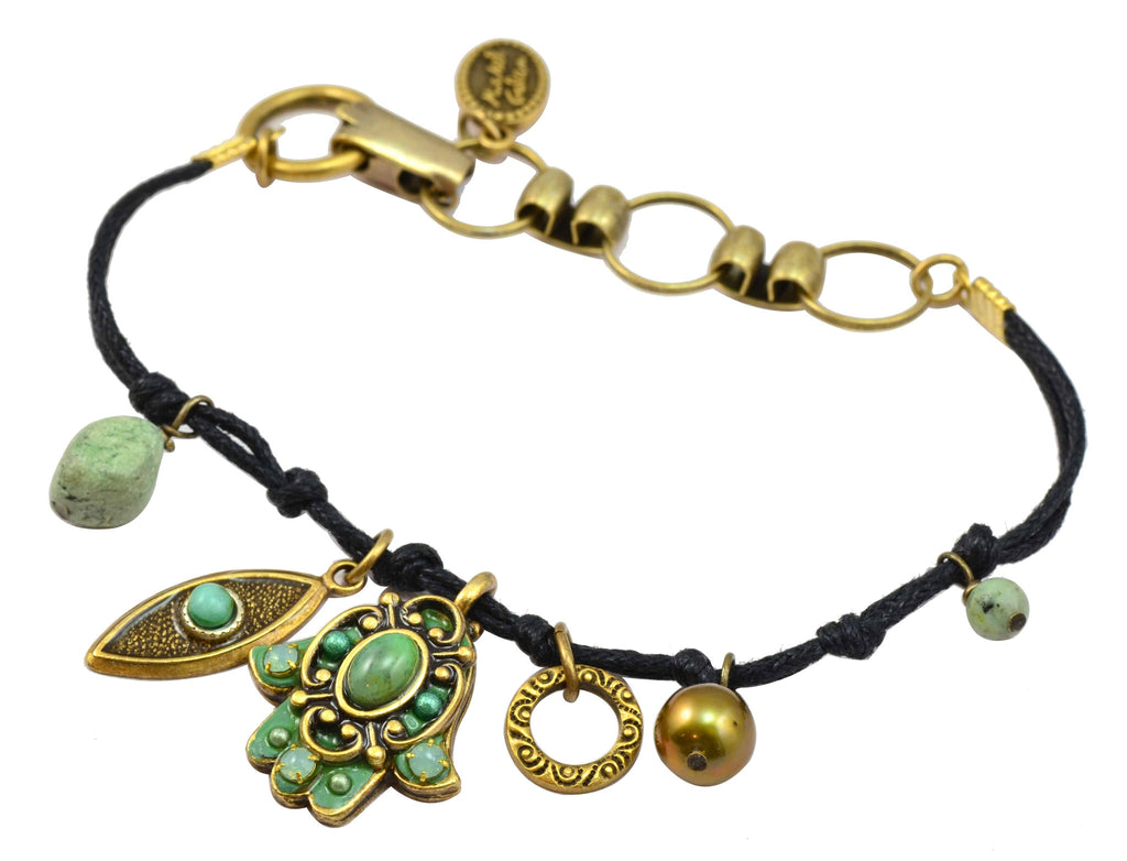 Michal Golan Gold Plated Aqua Hamsa Hand and Evil Eye Cluster Bracelet on Black Leather Cord