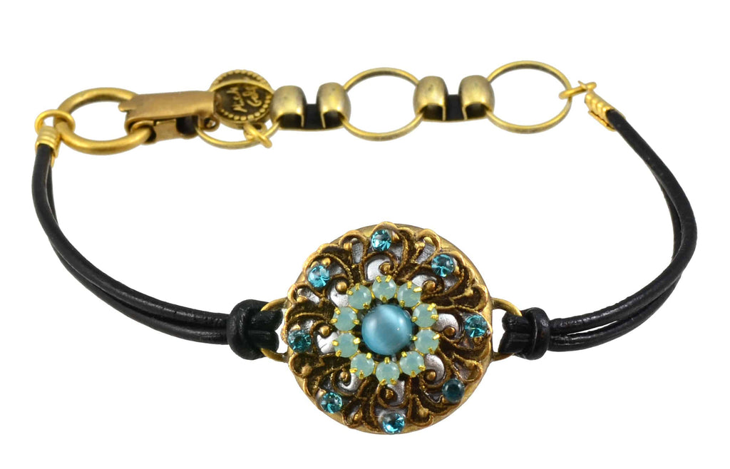 Michal Golan Gold Plated Circle Bracelet with Aqua Blue Cat's Eye on Black Leather Cord