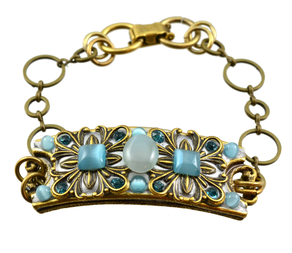 Michal Golan Gold Plated Cuff Chain Bracelet in Aqua Blue Cat's Eye and Swarovski Crystals