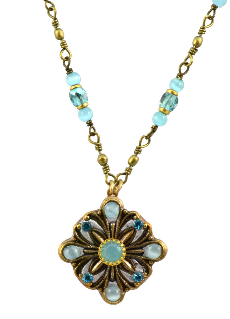 Michal Golan Gold Plated Diamond Pendant Necklace with Aqua Blue Cat's Eye and Glass Beads on Brass Chain