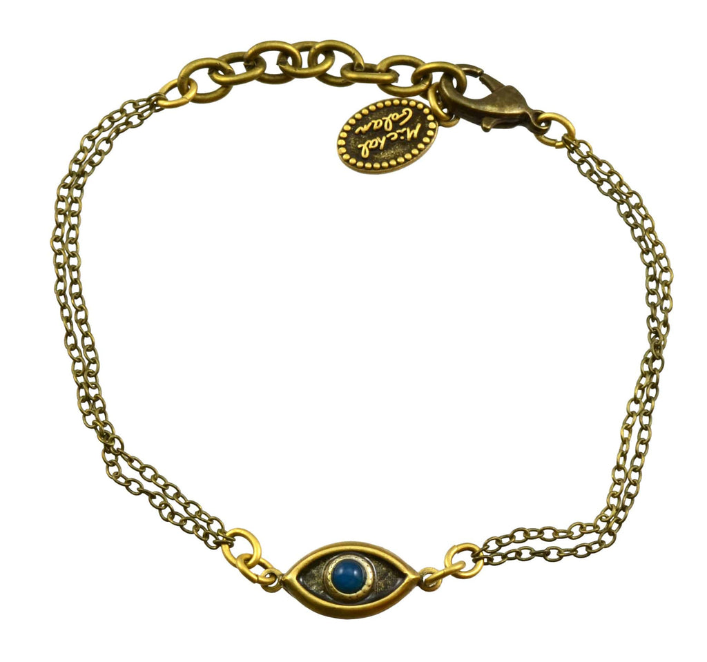 Michal Golan Gold Plated Double Chain Evil Eye Bracelet in Black with Lapis Lazuli