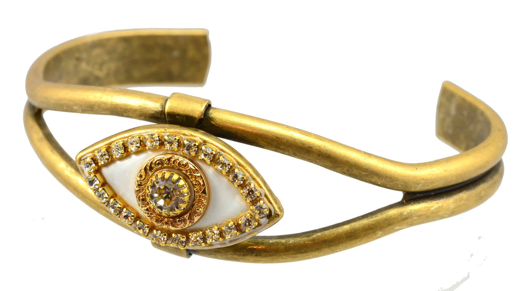 Michal Golan Gold Plated Evil Eye Bangle Bracelet in Clear Swarovski Crystals and White Enamel