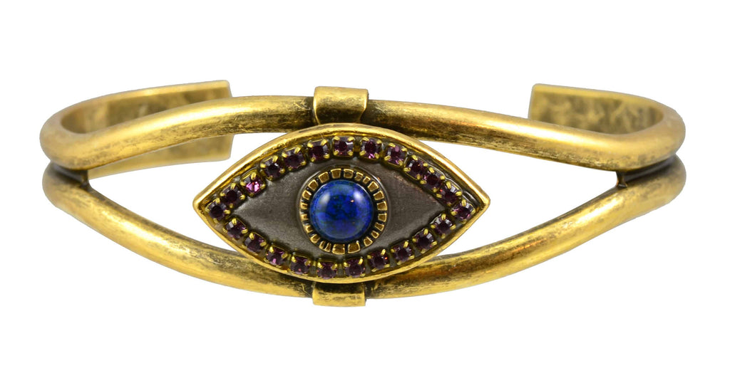 Michal Golan Gold Plated Evil Eye Bangle Bracelet in Gray with Purple Swarovski Crystals and Lapis Lazuli