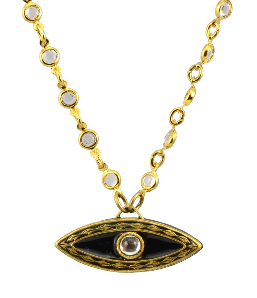 Michal Golan Gold Plated Evil Eye Pendant Necklace