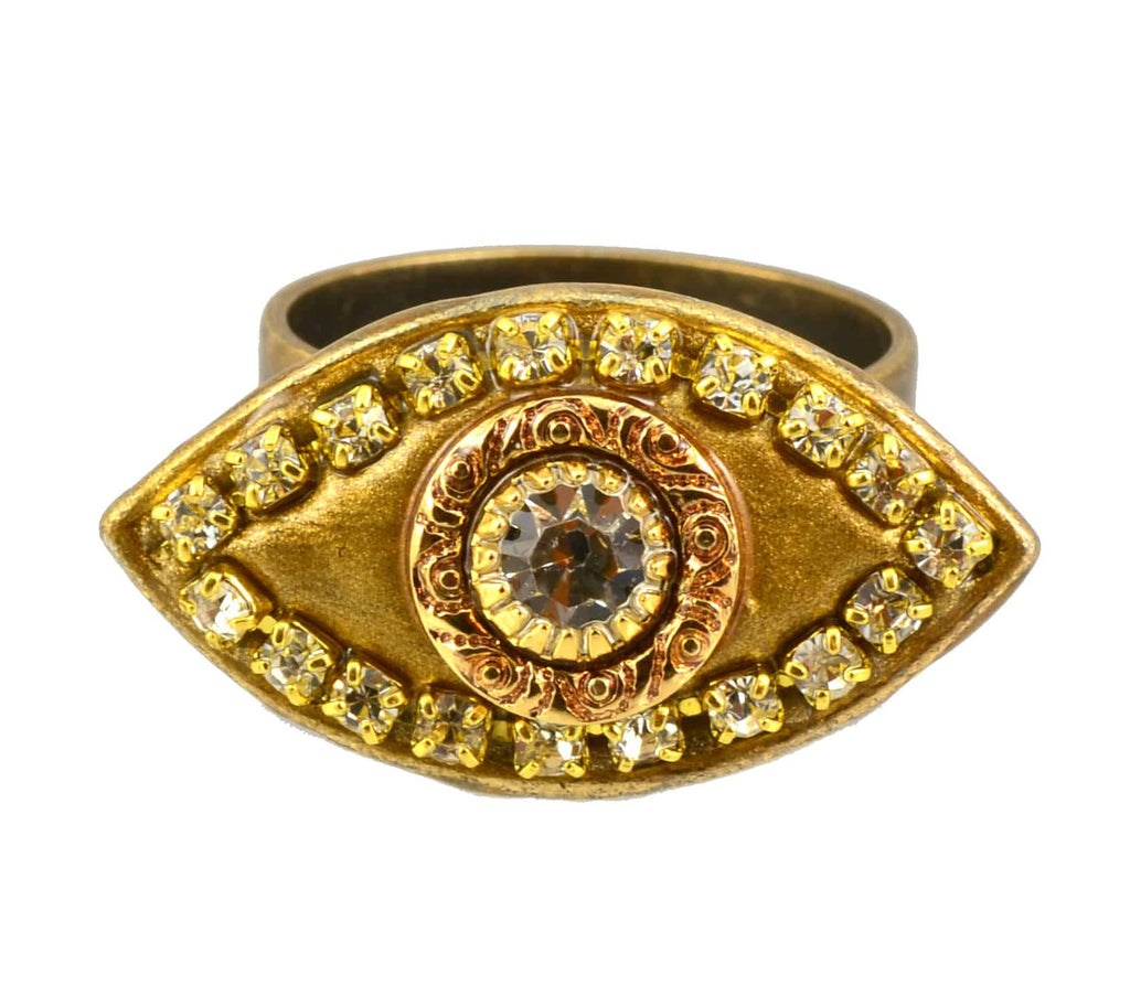Michal Golan Gold Plated Evil Eye Ring in Gold with Clear Swarovski Crystals