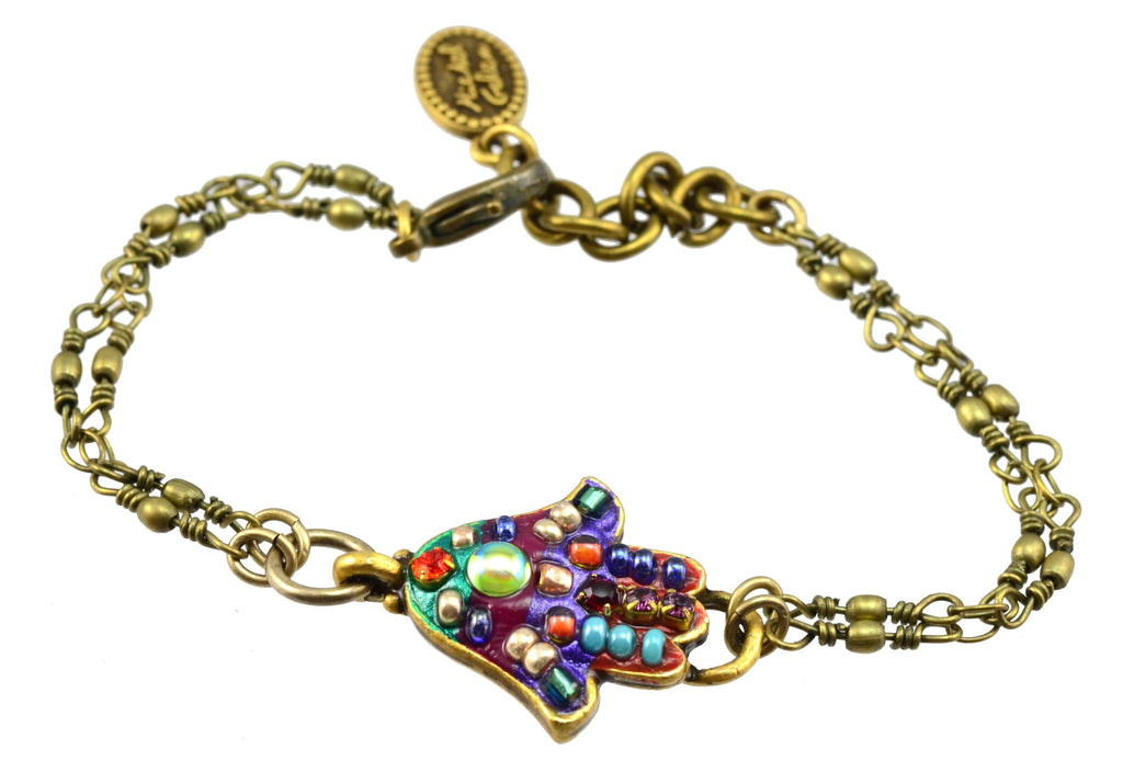 Michal Golan Gold Plated Swarovski Crystal Hamsa Hand Bracelet on Brass Double Chain