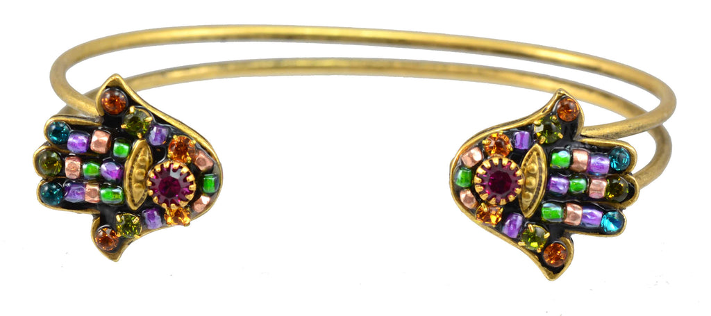 Michal Golan Gold Plated Hamsa Hand Bracelet in Fuchsia, Fawn and Aqua Swarovski Crystals