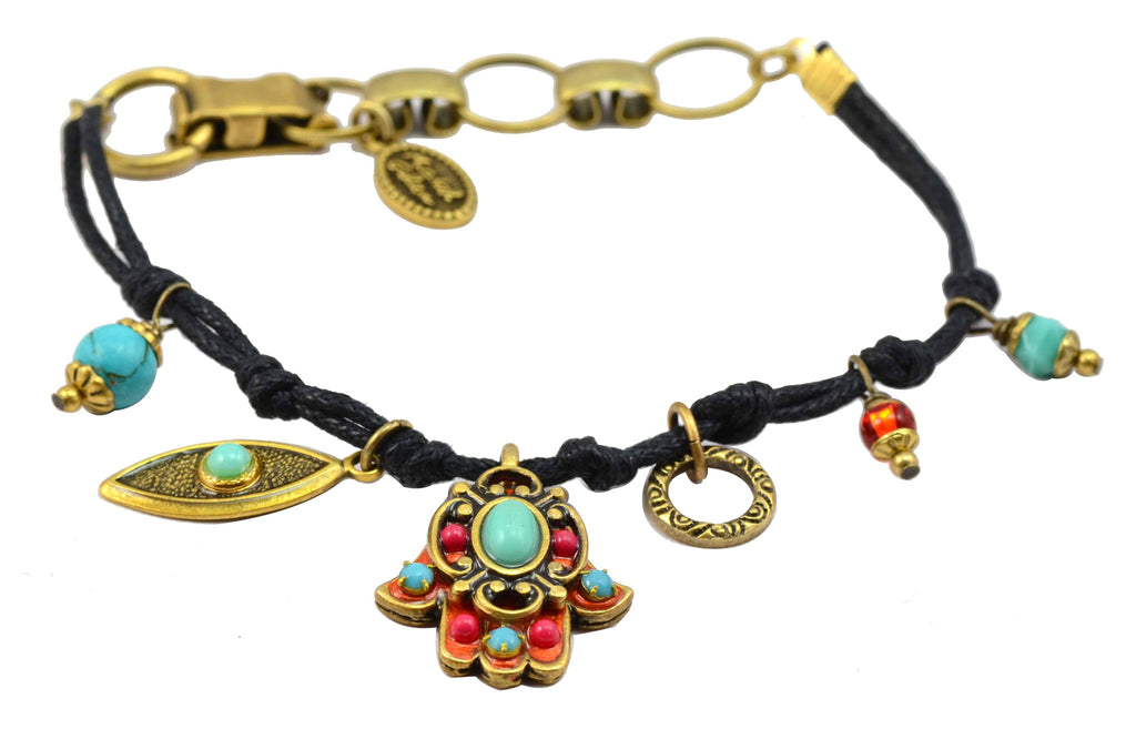 Michal Golan Gold Plated Hamsa Hand and Evil Eye Cluster Bracelet on Black Leather Cord
