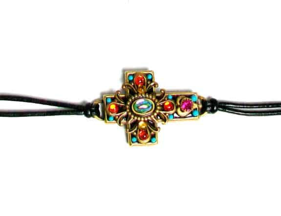 Michal Golan Gold Plated Large Cross Bracelet with Multi-colored Crystals on Black Leather Cord