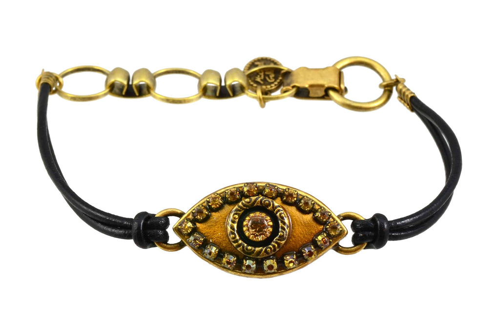Michal Golan Gold Plated Large Gold Evil Eye Bracelet and Copper Crystal on Black Leather Cord