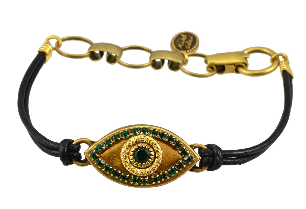 Michal Golan Gold Plated Large Gold Evil Eye Bracelet with Green Crystal on Black Leather Cord