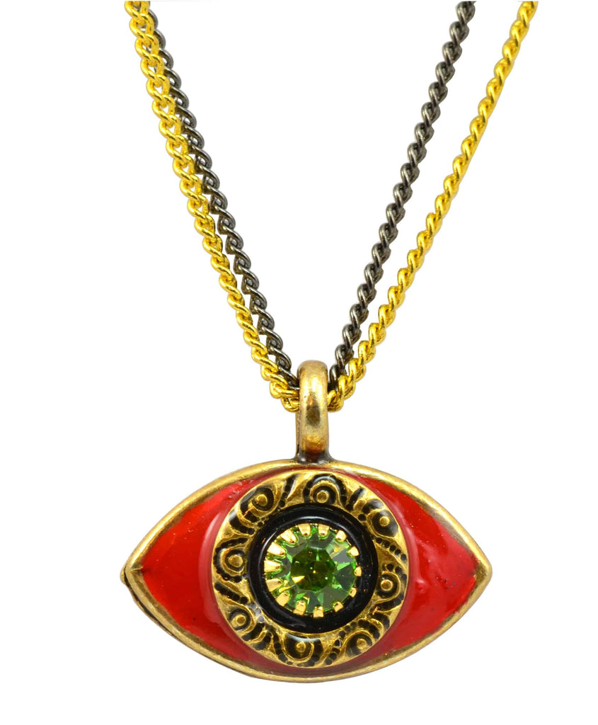 Michal Golan Gold Plated Medium Evil Eye Pendant Necklace on Double Black and Gold Chain