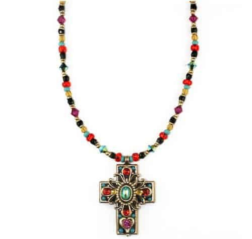 Michal Golan Gold Plated Medium Multicolor Swarovski Crystal Cross Pendant with Beaded Necklace