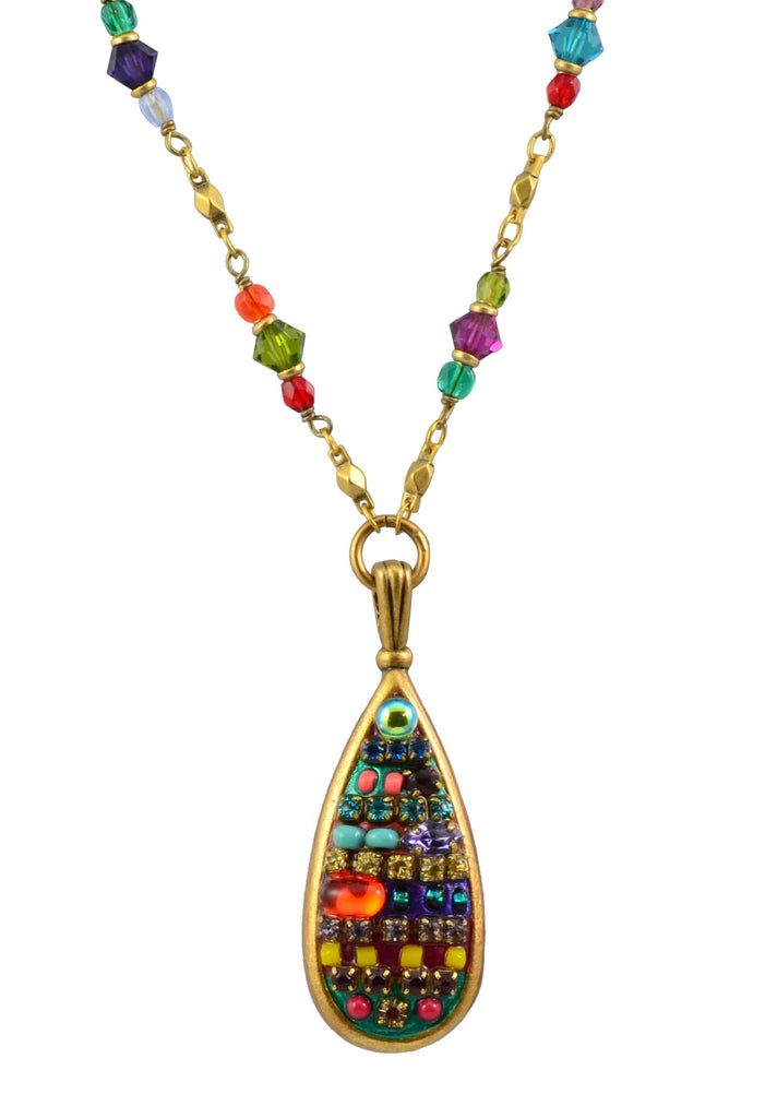Michal Golan Gold Plated Multibright Teardrop Pendant Necklace on Partial Beaded Gold Chain