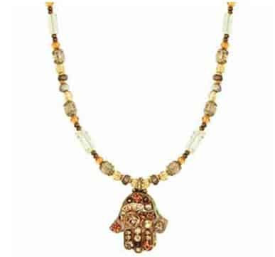 Michal Golan Gold Plated Small Beige Swarovski Crystal Hamsa Hand Pendant with Beaded Necklace