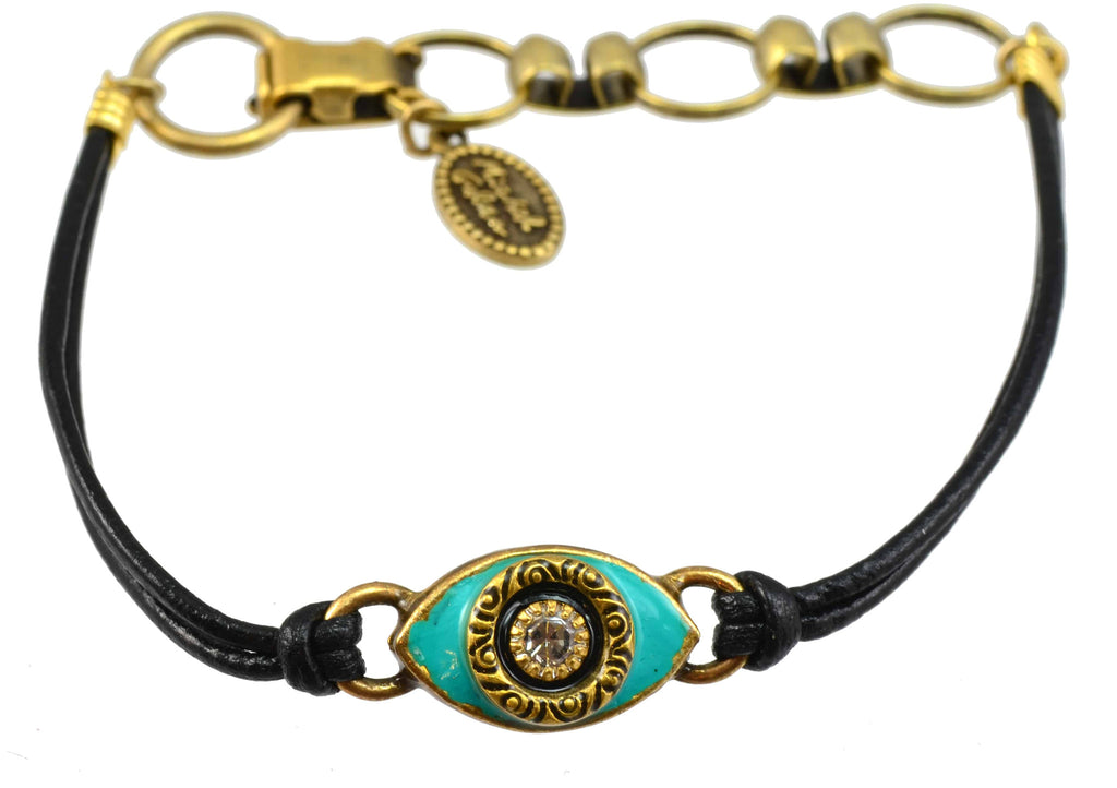 Michal Golan Gold Plated Small Evil Eye Bracelet and Teal Enamel on Black Leather Cord