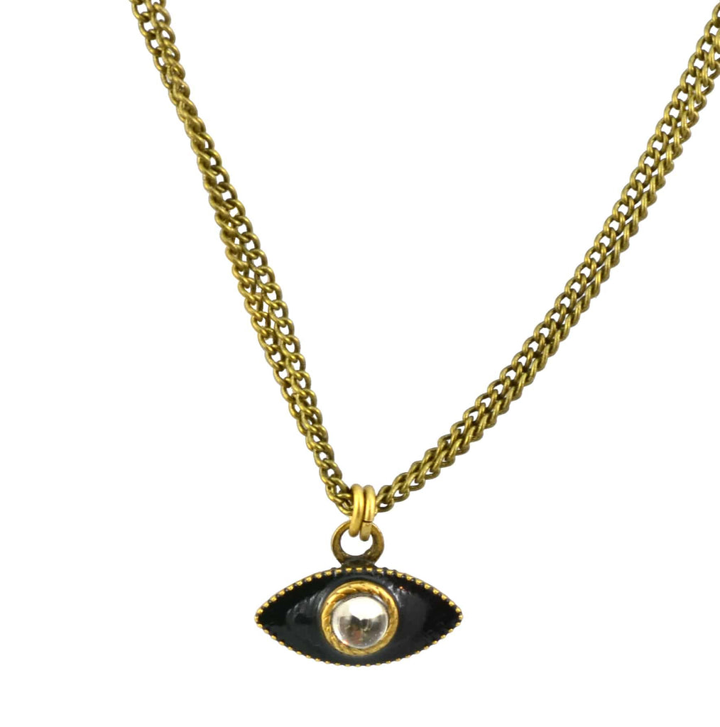 Michal Golan Gold Plated Small Evil Eye Pendant Necklace on Double Brass Chain