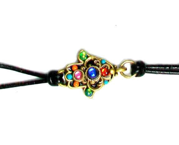 Michal Golan Gold Plated Small Hamsa Hand Bracelet on Black Leather Cord