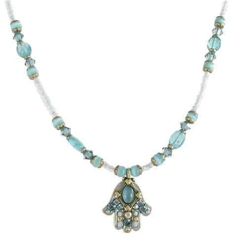 Michal Golan Gold Plated Small Hamsa Hand Pendant with Blue Cats Eye and Crystals on Beaded Necklace
