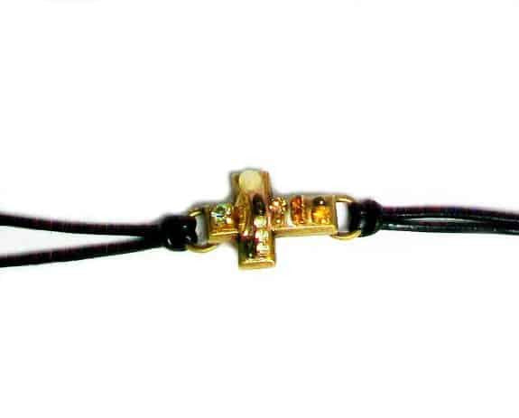 Michal Golan Gold Plated Small Multicolor Beige Cross Leather Bracelet with Crystals and Glass