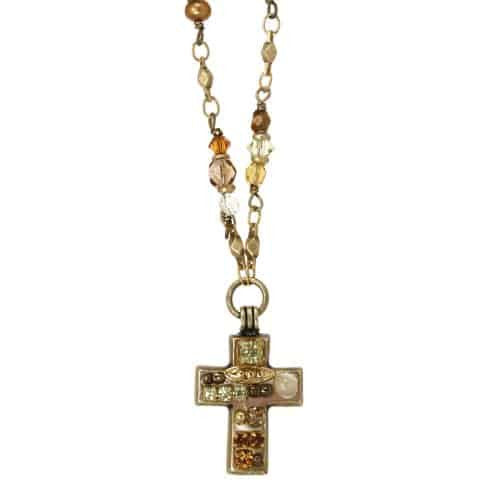 Michal Golan Gold Plated Small Multicolor Beige Swarovski Crystal Cross Pendant with Beaded Necklace