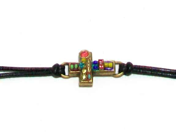 Michal Golan Gold Plated Small Multicolor Cross Bracelet on Black Leather Cord