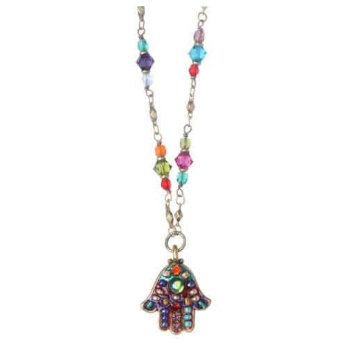 Michal Golan Gold Plated Small Multicolor Swarovski Crystal Hamsa Hand Pendant with Beaded Necklace