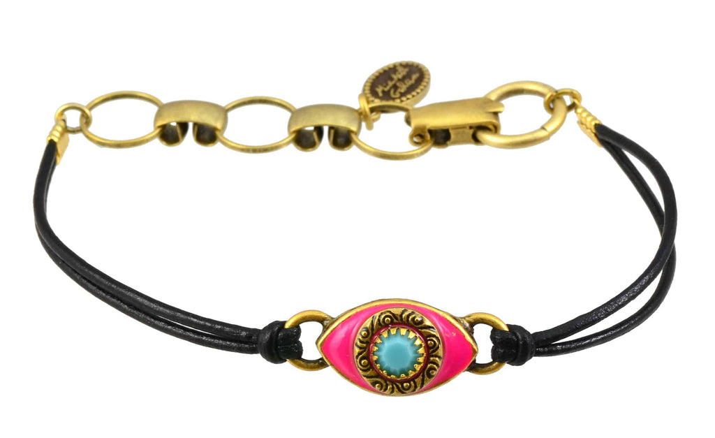 Michal Golan Gold Plated Small Pink Evil Eye Bracelet with Mint Crystal on Black Leather Cord