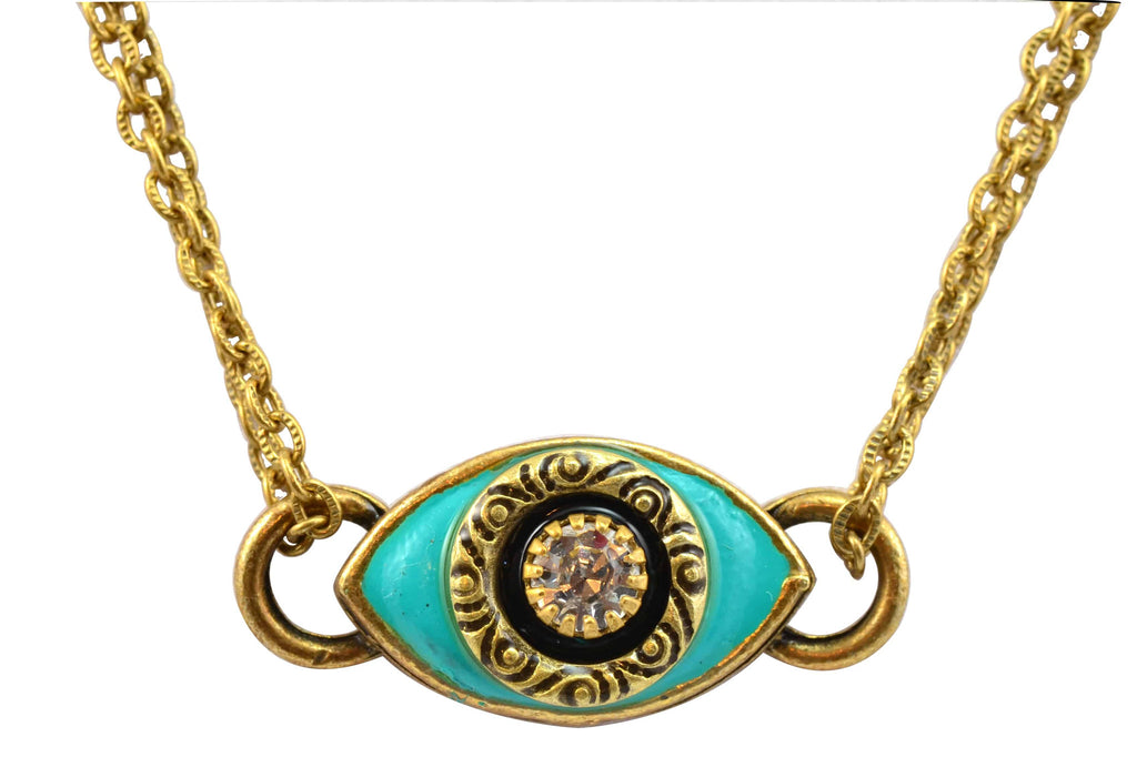Michal Golan Gold Plated Small Teal Evil Eye Necklace in Clear Crystal on Gold Plated Chain