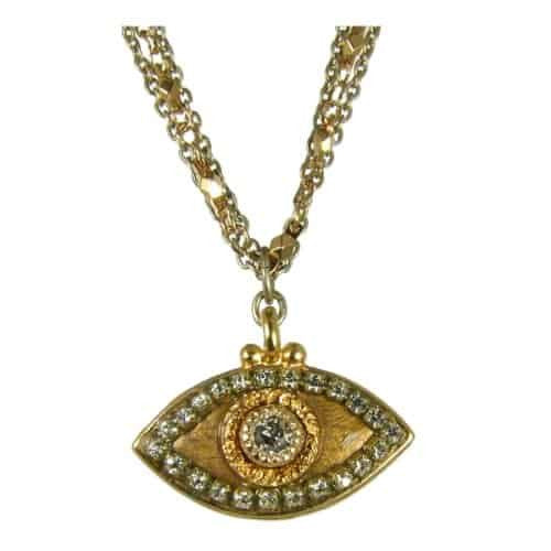 Michal Golan Gold Plated Triple Chain Necklace with Gold Evil Eye Pendant with Swarovski Crystal
