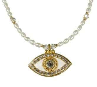Michal Golan Gold Plated White Evil Eye Pearl Necklace with Clear Swarovski Crystals