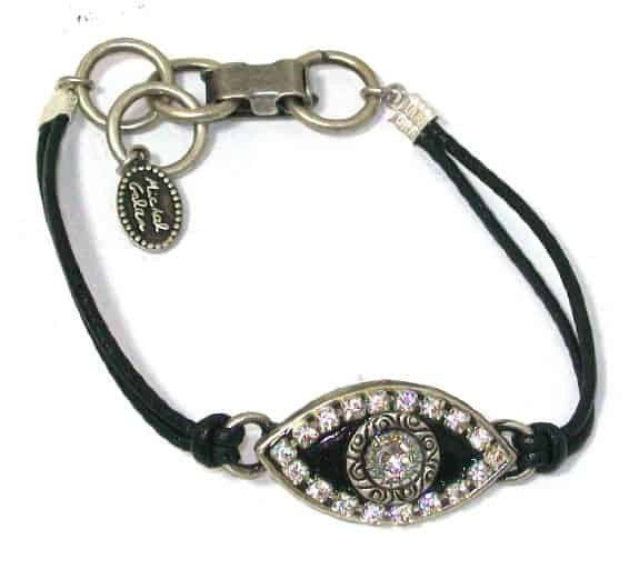 Michal Golan Jet Black Evil Eye Bracelet with Clear Swarovski Crystals on Black Leather Cord