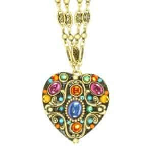Michal Golan Kaleidoscope Heart Pendant on Double Chain Necklace