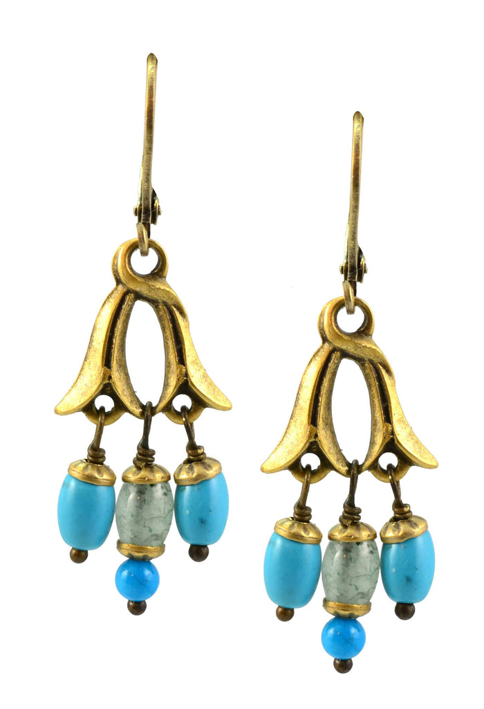 Michal Golan Nile Gold Plated Leaf Drop Earrings with 3 Dangles in Turquoise Mineral and Blue and Green Beads and Crystal